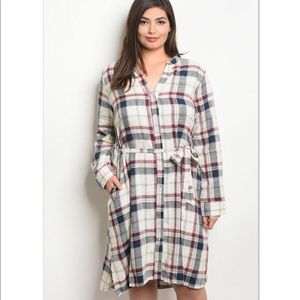 Dresses & Skirts - 'Harvest' Cream Plaid Belted Dress (CURVY)